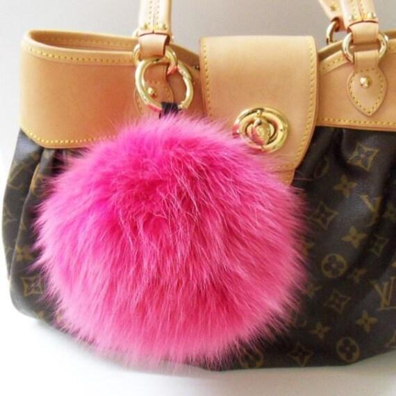 5fce2d25b180 The Biggest Hot Pink Fluffy Real Fox Fur Key Chain Ring Bag
