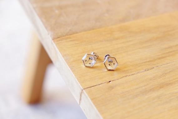 Gold Hexagon Forget Me Not Resin Dangle Earrings