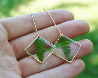 Diamond earrings Pressed fern leaves Gold plated 16K earrings Minimalist shape Resin jewellery Resin fern earrings Terrarium fern jewels