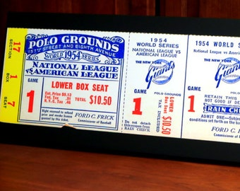 1954 Vintage New York Giants - Cleveland Indians World Series Ticket - Game 1 (The Catch) - Canvas Gallery Wrap - 24 x 10 #BB250