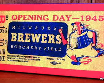 1945 Vintage Milwaukee Brewers Opening Day Ticket - Canvas Gallery Wrap -  10 x 20 #BB137