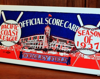 1937 Vintage Pacific Coast League Scorecard - Wrigley Field  - Canvas Gallery Wrap -  20 x 10 #BB140