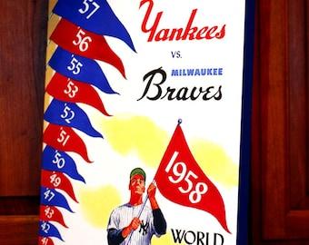 1958 Vintage New York Yankees - Milwaukee Braves World Series Program - Canvas Gallery Wrap   #BB036