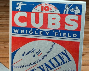 1932 Vintage Chicago Cubs Baseball Program - Blue Valley - Canvas Gallery Wrap    #BB122