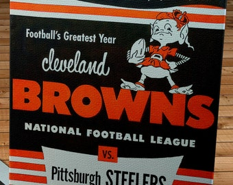1950 Vintage Cleveland Browns - Pittsburgh Steelers Football Program - Canvas Gallery Wrap   #FB025