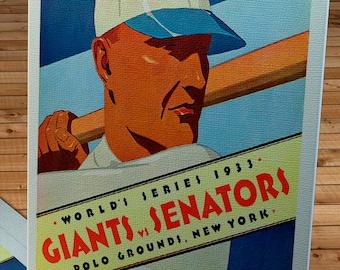 1933 Vintage New York Giants - Washington Senators World Series Program - Canvas Gallery Wrap -  12 x 14 #BB146