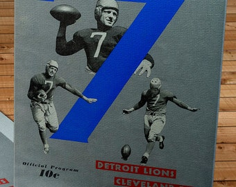 1939 Vintage Detroit Lions - Cleveland Rams Football Program - Canvas Gallery Wrap -  14 x 20 #FB018