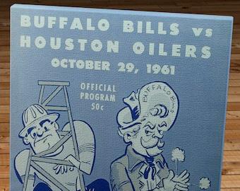1961 Vintage Buffalo Bills - Houston Oilers Football Program - Canvas Gallery Wrap   #FB027