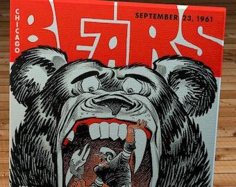 1961 Vintage Los Angeles Rams - Chicago Bears Football Program - Canvas Gallery Wrap   #FB016