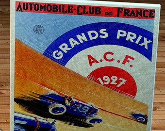 1927 Vintage French Grand Prix Racing Program - Canvas Gallery Wrap -  11 x 18 #MS004