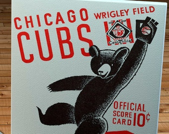 1939 Vintage Chicago Cubs Baseball Program - Catching Bear - Canvas Gallery Wrap    #BB172