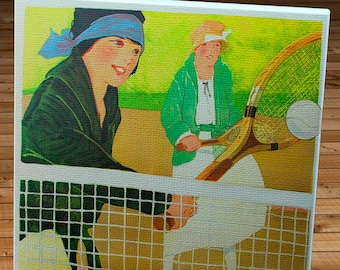 1920's Vintage YWCA Tennis Poster - Canvas Gallery Wrap -  14 x 18 #TN003