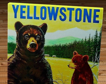 1960 Vintage Yellowstone Bears Travel Poster - Canvas Gallery Wrap   #TP001