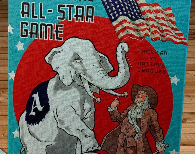 Featured listing image: 1943 Vintage All -Star Game Program - Shibe Park, Philadelphia  - Canvas Gallery Wrap   #BB203