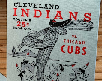 1961 Vintage Cleveland Indians - Chicago Cubs - Spring Training Program - Canvas Gallery Wrap   #BB180
