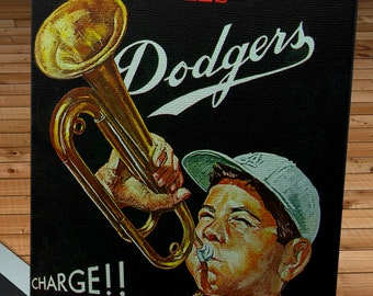 1962 Vintage Los Angeles Dodgers Program Cover - Charge! - Canvas Gallery Wrap