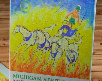 1966 Vintage Notre Dame Fighting Irish - Michigan State Spartans Football Program - Canvas Gallery Wrap