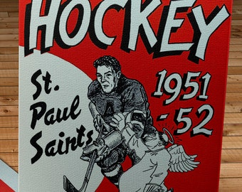 1951-1952 Vintage St. Paul Saints Hockey Program Cover - Canvas Gallery Wrap -