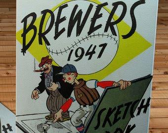 1947 Vintage Milwaukee Brewers Sketchbook - Canvas Gallery Wrap