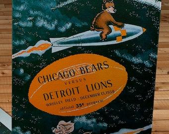 1959 Vintage Chicago Bears - Detroit Lions Football Program - Canvas Gallery Wrap