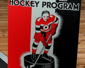 1932-1933 Vintage Ottawa Senators Hockey Program - Canvas Gallery Wrap -