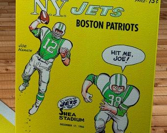 1966 Vintage New York Jets -Boston Patriots Football Program Cover - Canvas Gallery Wrap