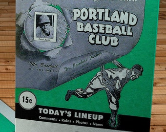 1954 Vintage Portland Beavers - Pacific Coast League Baseball Program Cover - Canvas Gallery Wrap