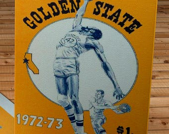 1972 -1973 Vintage Golden State Warriors Basketball Yearbook - Canvas Gallery Wrap -  10 x 20