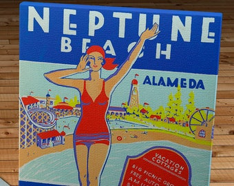 Vintage Alameda - Neptune Beach - Southern Pacific - Travel Poster - Canvas Gallery Wrap -