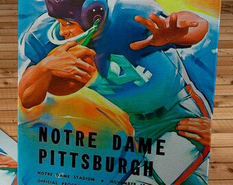 1962 Vintage Notre Dame Fighting Irish - Pittsburgh Panthers Football Program - Canvas Gallery Wrap