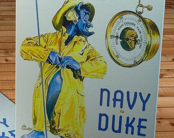 1946 Vintage Navy - Duke Blue Devils - Football Program - Canvas Gallery Wrap