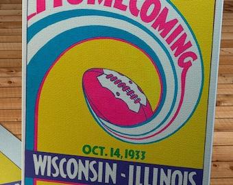 1933 Vintage Wisconsin Badgers  - Illinois Fighting Illini Football Program Cover - Canvas Gallery Wrap