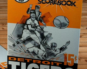1962 Vintage Detroit Tigers Scorebook - Canvas Gallery Wrap -  10 x 16