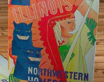 1933 Vintage Illinois Fighting Illini - Northwestern Wildcats Football Program Cover - Canvas Gallery Wrap