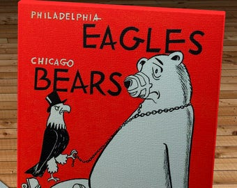 1961 Vintage Philadelphia Eagles - Chicago Bears Football Program - Canvas Gallery Wrap