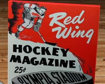 1954 Vintage Detroit Red Wings Hockey Program - Canvas Gallery Wrap