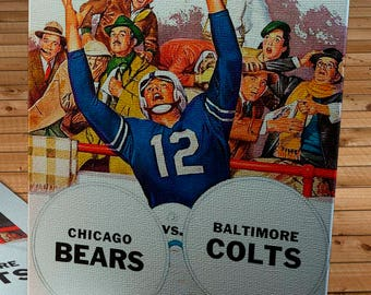 1958 Vintage Baltimore Colts - Chicago Bears Football Program - Canvas Gallery Wrap