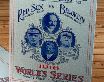 1916 Vintage Brooklyn Dodgers - Boston Red Sox World Series Program - Canvas Gallery Wrap
