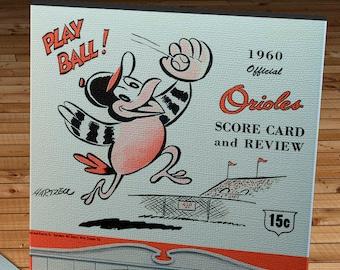 1960 Vintage Baltimore Orioles Scorecard - Canvas Gallery Wrap