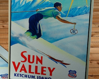 1940's Vintage Sun Valley Travel Poster - Union Pacific - Canvas Gallery Wrap