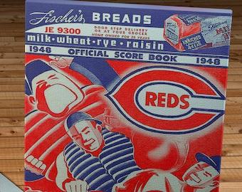 1948 Vintage Cincinnati Reds Baseball ScoreBook - Canvas Gallery Wrap -  10 x 16