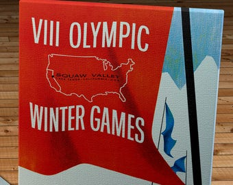 1960 Vintage Squaw Valley Winter Olympics Poster - Canvas Gallery Wrap - 24 x 36