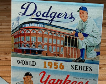 1956 Vintage New York Yankees vs Brooklyn Dodgers - Dodger home program -  World Series Program - Canvas Gallery Wrap