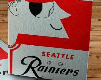 1956 Vintage Seattle Rainiers Program Cover - Canvas Gallery Wrap -