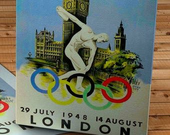 1948 Vintage London Olympic Poster - Canvas Gallery Wrap - 10 x 16