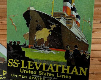 1920's Vintage United States Lines Travel Poster - SS Leviathan - Canvas Gallery Wrap