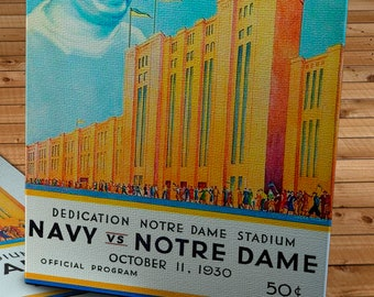 1930 Vintage Navy  - Notre Dame Fighting Irish Football Program - Notre Dame Stadium - Canvas Gallery Wrap