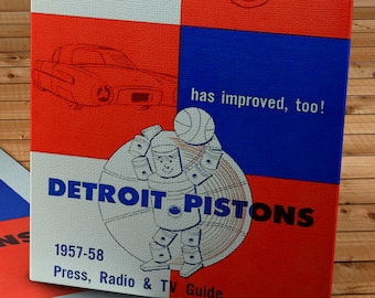 1957- 1958 Vintage Detroit Pistons Basketball Press Guide - Canvas Gallery Wrap -