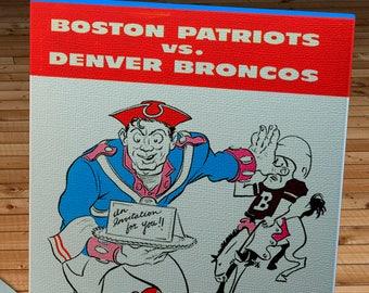1960 Vintage Denver Broncos - Boston Patriots Football Program - Canvas Gallery Wrap