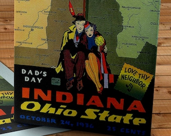 1936 Vintage Indiana - Ohio State Football Program - Canvas Gallery Wrap